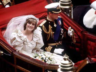 Princess DIana and Prince Charles during their wedding day carriage ride, 1981