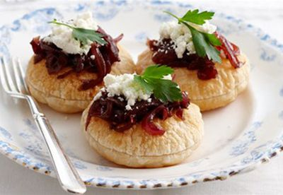 Caramelised onion and feta tarts