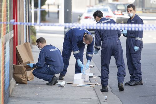 A crime scene was established outside Love Machine nightclub in Prahran, Melbourne, Sunday, April 14, 2019, after four people, including Richard Arow, were injured in a drive-by shooting, leaving Mr Arow and a security guard dead.