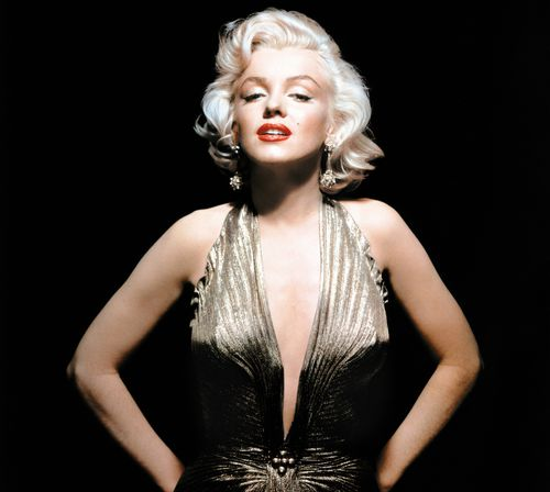 Monroe wearing the gold lame gown she made famous in Gentlemen Prefer Blondes.