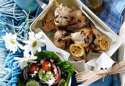 Lemon lovely legs with Greek salad