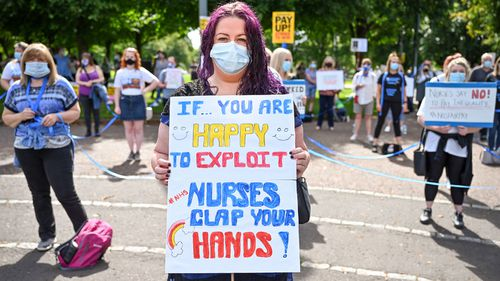 Nurses and other frontline NHS workers stage a protest Glasgow Green after being left out of a public sector pay rise on August 08, 2020 in Glasgow, United Kingdom