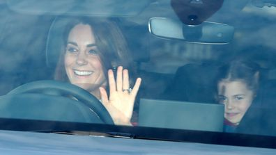 Duchess of Cambridge Kate Middleton and Princess Charlotte arrive at Buckingham Palace for Queen's Christmas Lunch 2