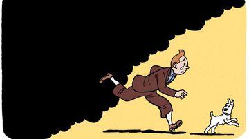 A drawing of Tintin fleeing smoke by cartoonist Kim.