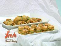 duck pancakes and salmon pinwheels