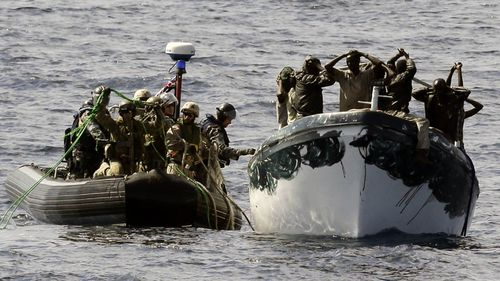 Somali pirates intercepted and arrested by a Royal Australian Navy patrol in 2013.