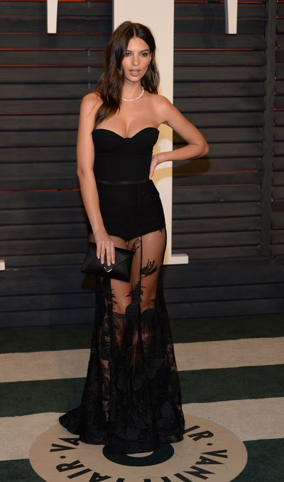 Emily Ratajkowski wearing Steven Khalil at the Vanity Fair post-Oscars party in Beverly Hills Sunday, February, 2016