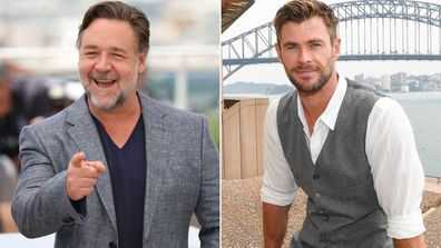 Russell Crowe and Chris Hemsworth.