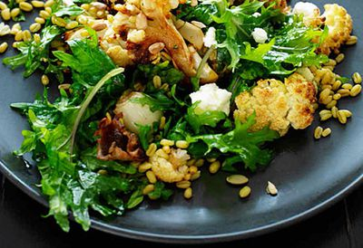 "Recipe: <a href=""  /recipes/icauliflower/9095328/cauliflower-freekah-and-goats-cheese-salad "" target=""_top"">Cauliflower, freekah and goat's cheese salad</a>"
