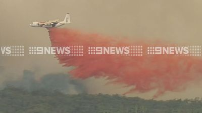 <p>A NSW-loaned Hercules aircraft  dropped fire retardant on one of the blazes on Tuesday afternoon. (9NEWS)</p>