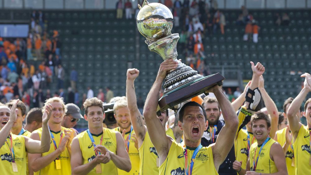 Australia celebrate their Champions Trophy win (AAP)
