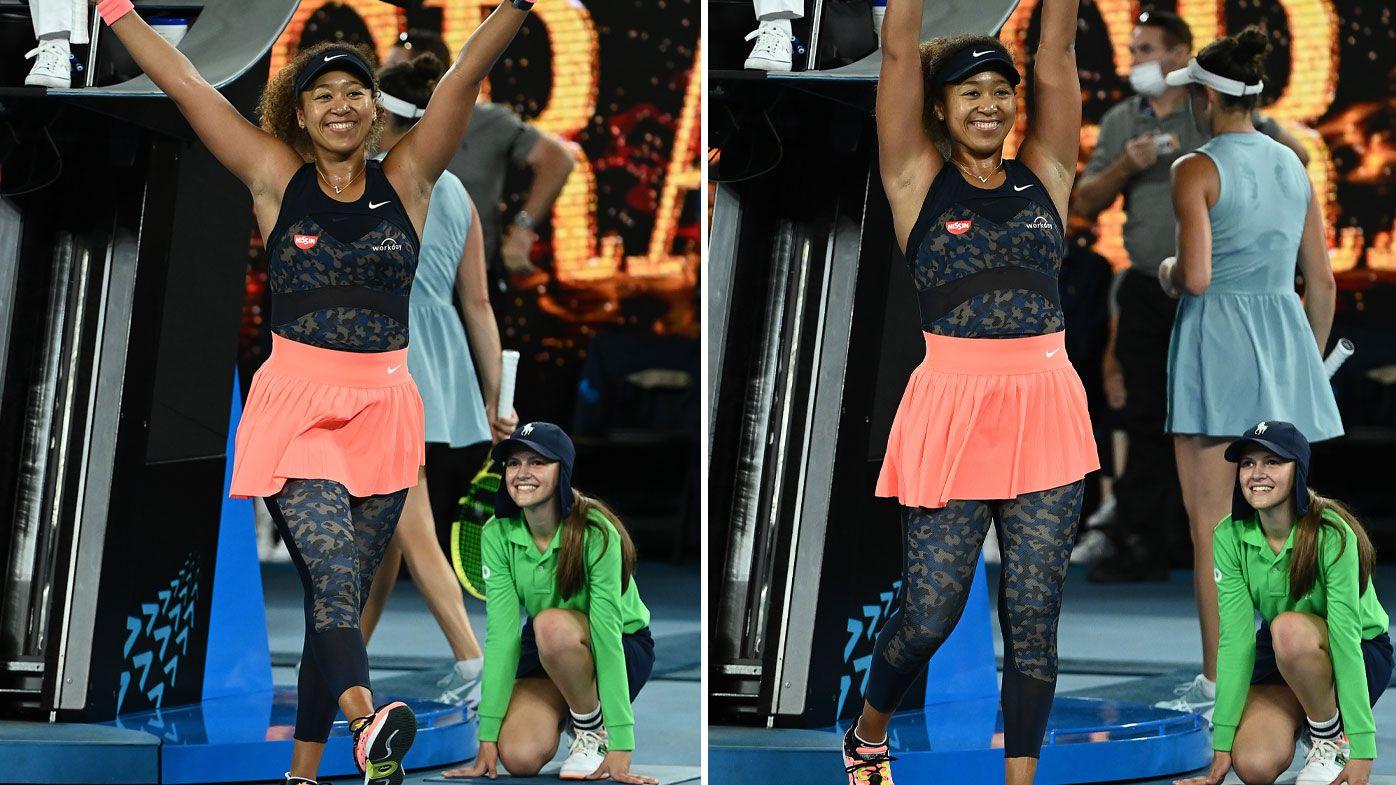 Naomi Osaka celebrates her Australian Open victory.