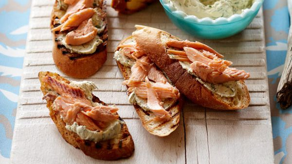 Hot-smoked trout bruschetta