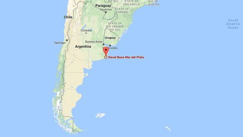 The submarine was bound for Argentina's Mar del Plata base. (Google Maps)