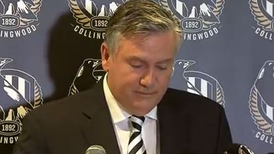 Eddie McGuire resigning as president of the Collingwood Football Club.