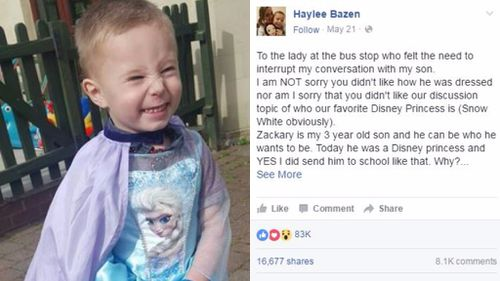 Mother whose son wore a Disney dress hits back at public criticism