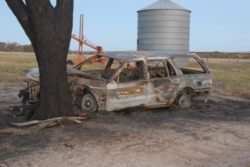 The burned out car which Susi Elizabeth Johnston was found in.