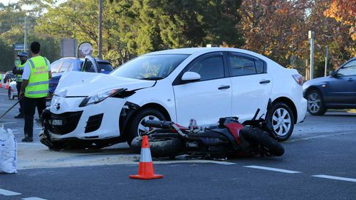 The motorbike and car collided on the Pacific Highway at Turramurra. (Supplied: Nicholas Ang)