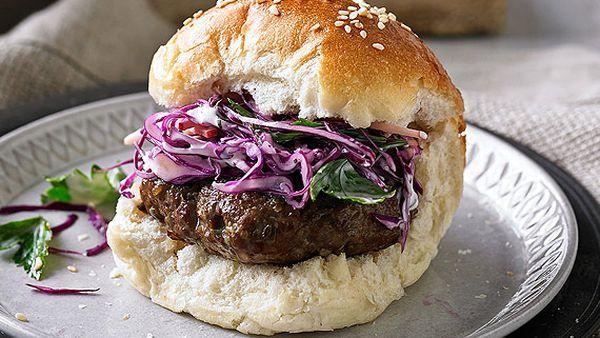 Mini smoked beef burgers with slaw