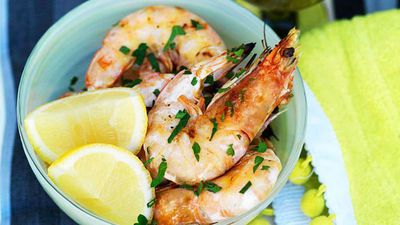 "Recipe:&nbsp;<a href=""http://kitchen.nine.com.au/2016/05/13/12/47/barbecued-king-prawns-with-lemon-and-parsley"" target=""_top"">Barbecued king prawns with lemon and parsley</a>"