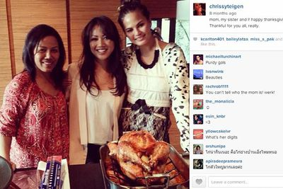 @chrissyteigen: mom, my sister and I! happy thanksgiving, everybody!! Thankful for you all, really.
