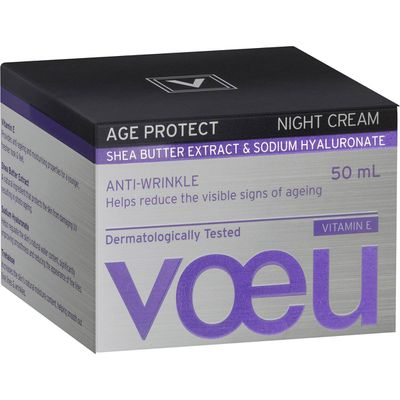 """<p><a href=""""https://www.woolworths.com.au/shop/productdetails/518398/voeu-age-protect-anti-ageing-night-cream"""" target=""""_blank"""" draggable=""""false"""">Voeu Age Protect Anti-ageing Night Cream 50ml, $</a>8</p> <p>Working overnight to help support natural cell growth and collagen synthesis, this night cream minimises the appearance of wrinkles and keeps the skin looking radiant and healthy.</p> <p>The best part it's a steal priced at just $8.</p>"""