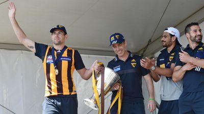 Hodge and coach Alistair Clarkson. (AAP)