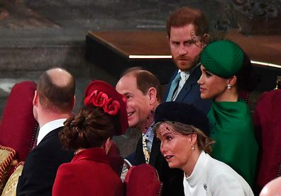 Prince William, Duke of Cambridge, Catherine, Duchess of Cambridge, Prince Harry, Duke of Sussex, Meghan, Duchess of Sussex, Prince Edward, Earl of Wessex and Sophie, Countess of Wessex attend the Commonwealth Day Service 2020 on March 9, 2020 in London, England. (Photo by Phil Harris - WPA Pool/Getty Images)