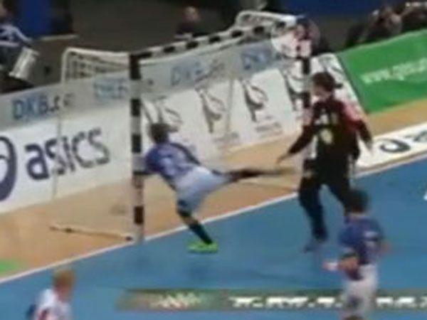 Handballer foiled by goal frame