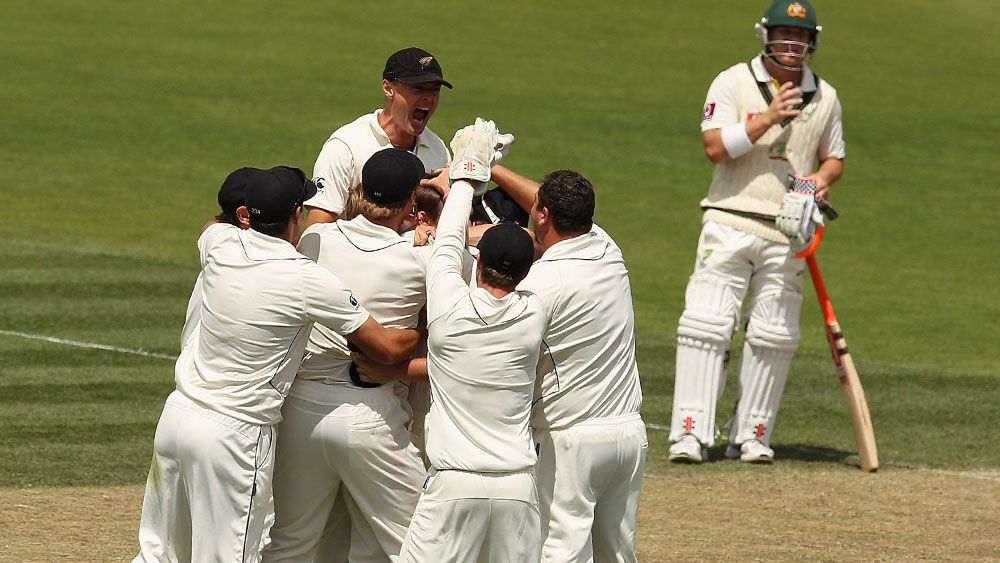 New Zealand players celebrate a wicket against Australia in Hobart in 2011. (Getty)