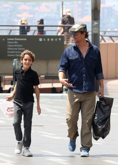 Matthew McConaughey pictured at Sydney Opera House with his son Levi