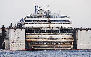 On this day on September 17, 2013: The Costa Concordia is brought upright