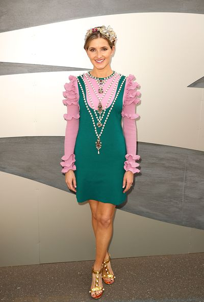 Kate Waterhouse in Gucci dress and Jonathan Howard hat.