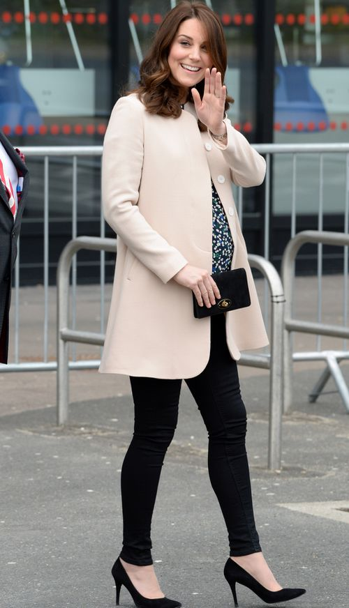 The Duchess of Cambridge on her last official engagement before maternity leave. (PA/AAP)