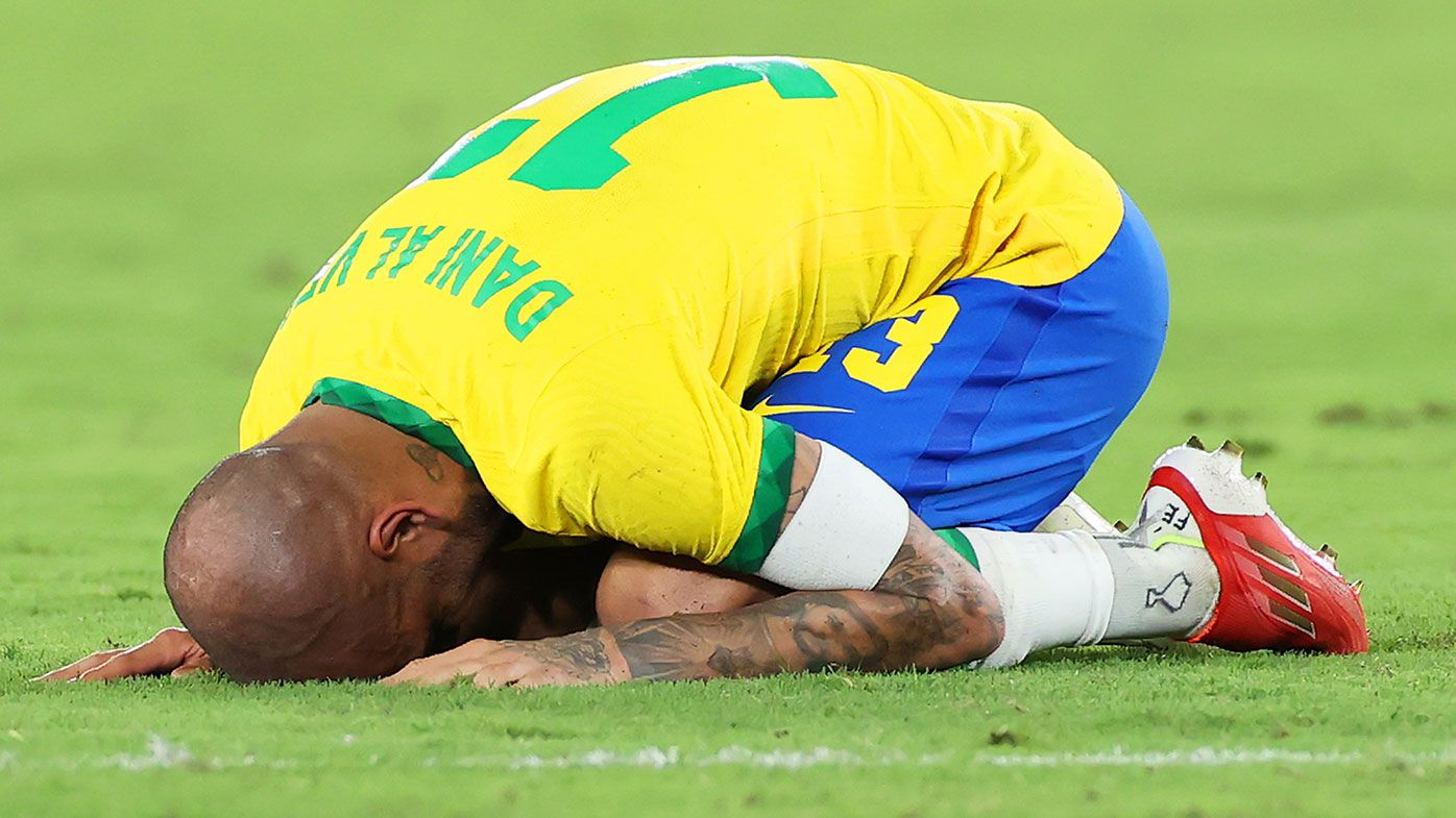 Dani Alves of Team Brazil celebrates their side's victory after the Men's Gold Medal Match between Brazil and Spain at the Tokyo Olympics.