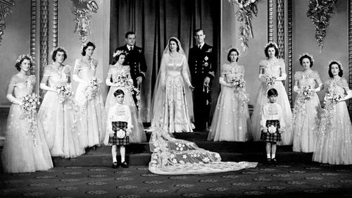 The Queen and Prince Philip on their wedding day. Picture: AAP