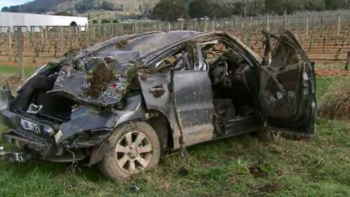 The car rolled several times, and Cooper Ratten flew at least 60m. (9NEWS)