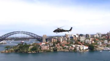 Black Hawk helicopters parade over Sydney Harbour
