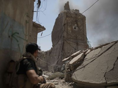 <p>The mosque was blown up by ISIS last month as Iraqi forces advanced towards the old city. (AFP)</p>