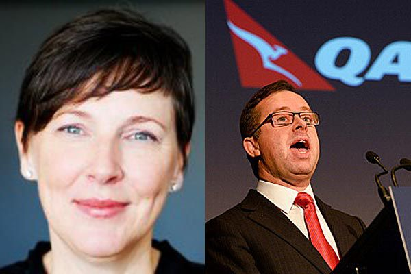 Qantas battle: Speech writer Lucinda Holdforth and the airline's boss Alan Joyce.