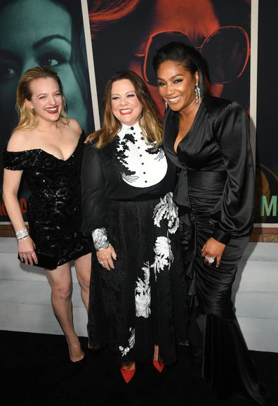 (L-R) Elisabeth Moss, Melissa McCarthy, and Tiffany Haddish attend the premiere of The Kitchen at TCL Chinese Theatre on August 05, 2019 in Hollywood, California. (Photo by Kevin Winter/Getty Images)