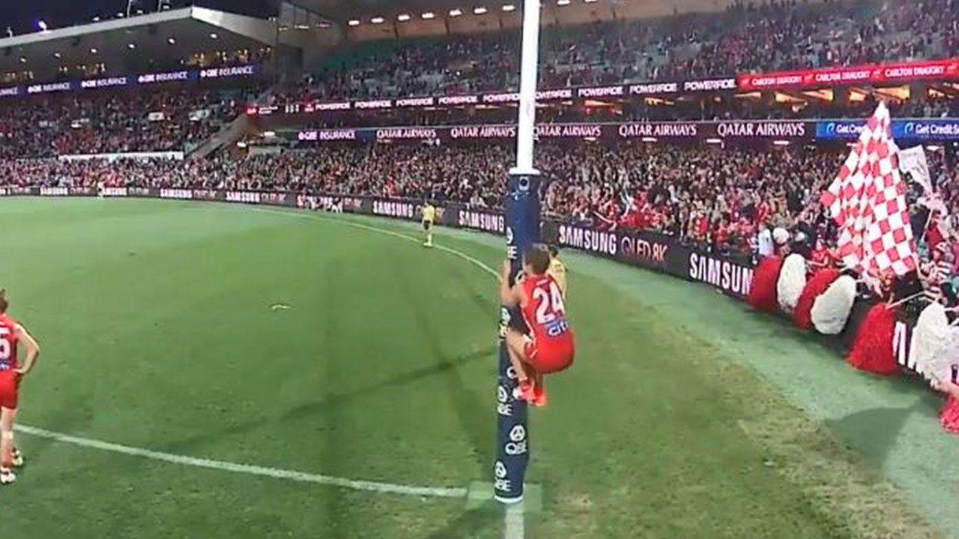 Sydney Swans captain Dane Rampe fined over AFL 'unacceptable' umpire comments, goalpost climb