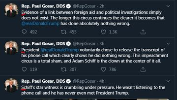 The first letters of Paul Gosar's 23 consecutive tweets spell out 'Epstein didn't kill himself'.