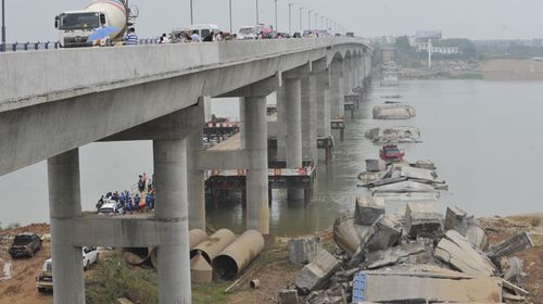 The collapsed bridge at Taihe county. (AFP)