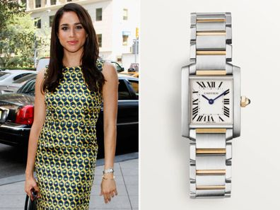 Meghan Markle in 2016, and her Cartier watch