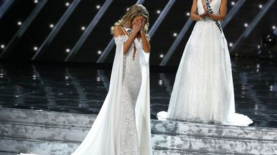 Miss USA Olivia Jordan finds out she is in the top three. (AAP)
