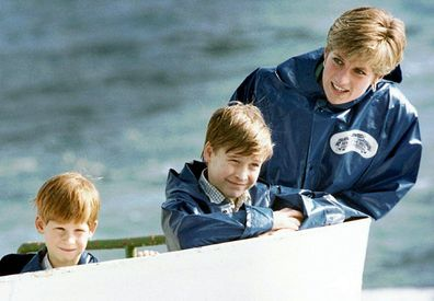 Diana with William and Harry on a boat raid in Niagara Falls in 1991.