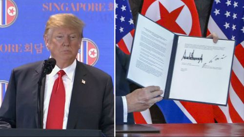 Trump revealed details of the pledge signed between himself and the Chairman. Picture: AP