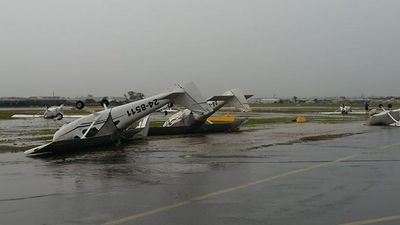 Planes flipped over at Archerfield Airport. (Kathleen Jennings)