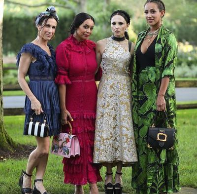 Alice + Olivia designer Stacey Bendet, Jessica Stark and Brandi Garnett at the Net-a-porter x GOOD + Foundation summer 2018 dinner at the Seinfeld's estate.